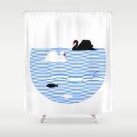 black swan Shower Curtains featuring Black Swan White Swan by Studio Su