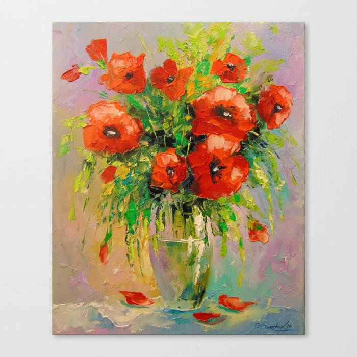Bouquet of poppies in vase Canvas Print