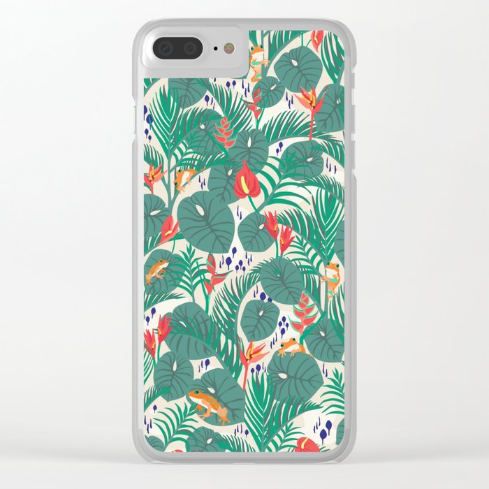 Tropical Frogs in the Jungle - Cream Clear iPhone Case