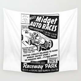 Midget Auto Races, Race poster, vintage poster, bw Wall Tapestry