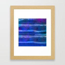 Blue Abstract Watercolor Striped Painting Framed Art Print
