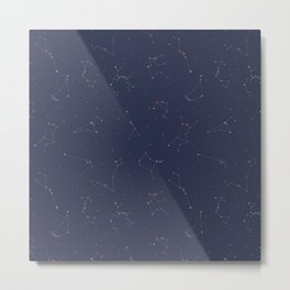Zodiac Constellations Pattern Metal Print