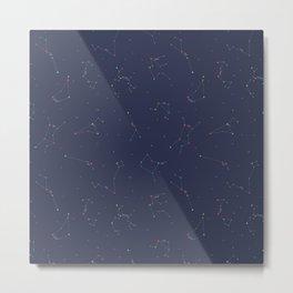 Zodiac Constellations Pattern Metal Print