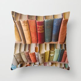 The Colorful Library Throw Pillow