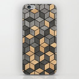 Concrete and Wood Cubes iPhone Skin