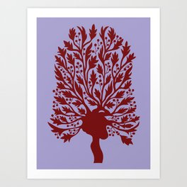 Heart Hawthorn Tree Art Print