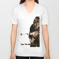 chewbacca V-neck T-shirts featuring Chewbacca by KL Design Solutions