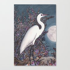 Egret in the Moonlight Canvas Print