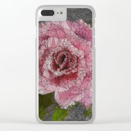 Pink Rose, Low Poly, Triangulated Clear iPhone Case