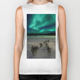 Winter Northern Lights Dog Sled (Color) Biker Tank