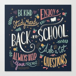 Back to school colorful typography drawing on blackboard with motivational messages, hand lettering Canvas Print