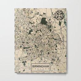 Birmingham City Map of England - Vintage Metal Print