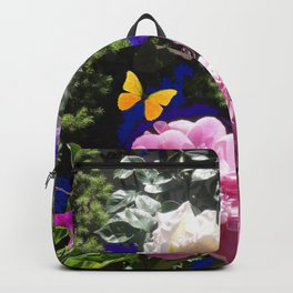 WHITE ROSES PINK  PEONIES BUTTERFLY GARDEN ART Backpack