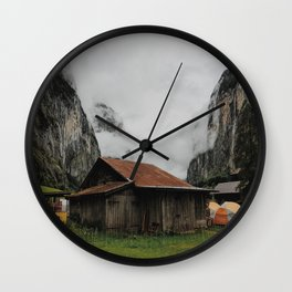 Camping Grounds of Lauterbrunnen, Switzerland Wall Clock