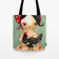 Babusha Girl with Speckled Chicken Tote Bag