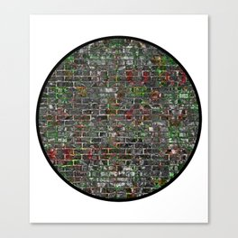 Round Grunge Wall Of Mould And Green Canvas Print