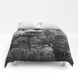Abandoned Old Farmall Tractor in Black and White Comforters