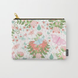 Pastel coral pink green butterfly floral polka dots Carry-All Pouch