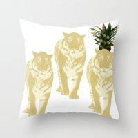 tigers Throw Pillows featuring tigers by vica