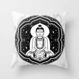 Buda Gautama, Siddharta Gautama, Sakiamuni (black) Throw Pillow