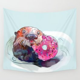 Otter Donut Wall Tapestry