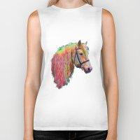 pony Biker Tanks featuring Rainbow Pony. by HelenMacNee