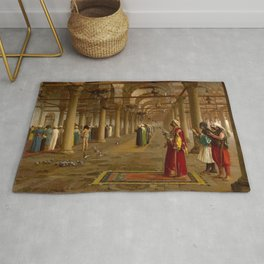 Islamic Masterpiece 'Prayer in the Mosque' by Jéan Leon Gerome Rug