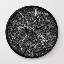 Paris Black Map Wall Clock