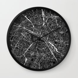 Paris Black Map Wall Clock
