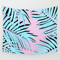 palm tree Wall Tapestries featuring Palm tree by Hanna Kastl-Lungberg