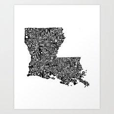 Typographic Louisiana Art Print