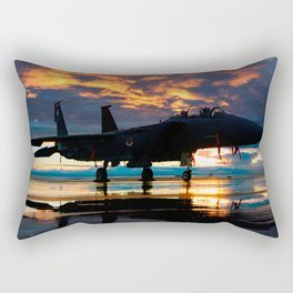 Fighter Jet Airplane at Sunset Military Gifts Rectangular Pillow