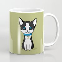 husky Mugs featuring Husky by Freeminds