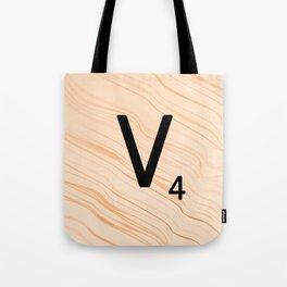 Scrabble Letter V - Large Scrabble Tiles Tote Bag
