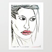 angelina jolie Art Prints featuring ANGELINA JOLIE by JANUARY FROST