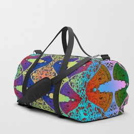 Pizza Party double rainbow gradient doodle Duffle Bag