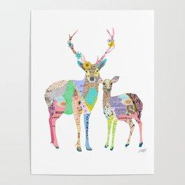 Pastel Deer Collage Poster