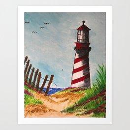 Beach Lighthouse Art Print