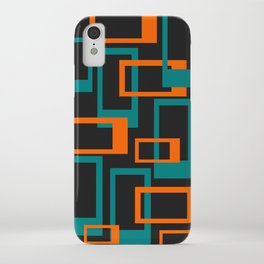 Mid Century Modern Layered Rectangles - Orange and Teal iPhone Case