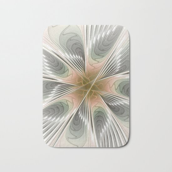 Floral Elegance, Modern Fractal Art Bath Mat