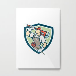 Plumber Holding Wrench Plunger Shield Cartoon Metal Print