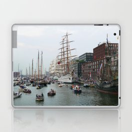 Tall ships in Amsterdam's Harbour Laptop & iPad Skin
