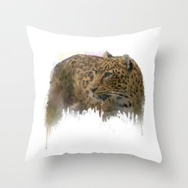 Digital Painting of Leopard on white background Throw Pillow