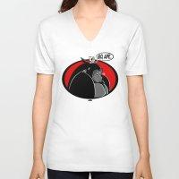 ape V-neck T-shirts featuring GO, APE by JVZ Designs