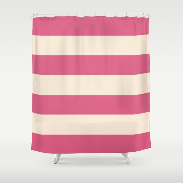 Antique White And Blush Pink Stripes Shower Curtain