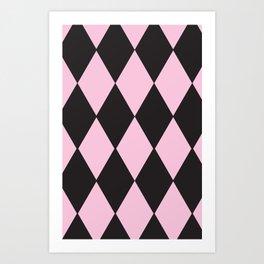 Harlequin pink & black Art Print