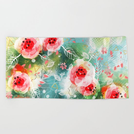 Abstract painting nature and geometric Beach Towel