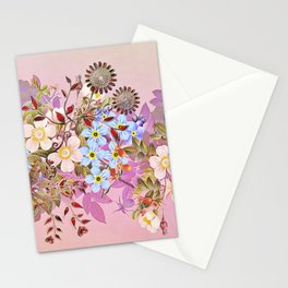 Sweet pastel pink flowers Stationery Cards
