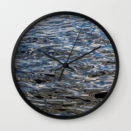 Water surface silver and blue Wall Clock