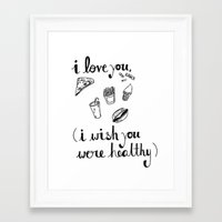 health Framed Art Prints featuring Health Problems by Handwritten